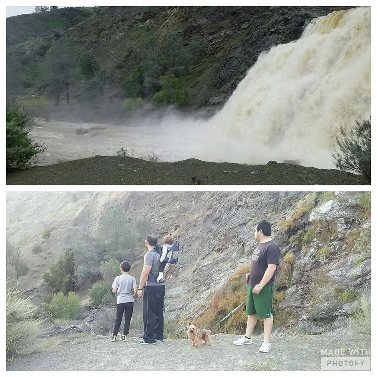 Anderson Dam in Morgan Hill, Calif. Top:February 2017 Bottom:May 2016