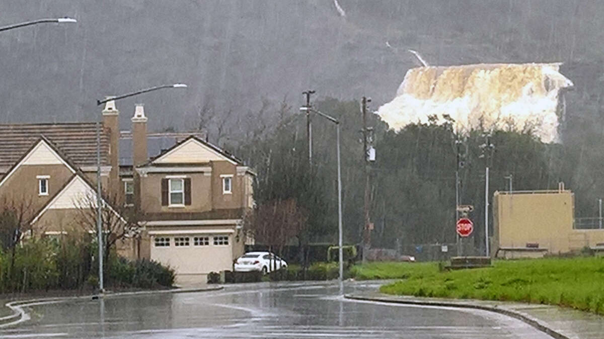 The lower spillway waterfall at Anderson Dam in Morgan Hill, Calif., on Monday, Feb. 20, 2017.