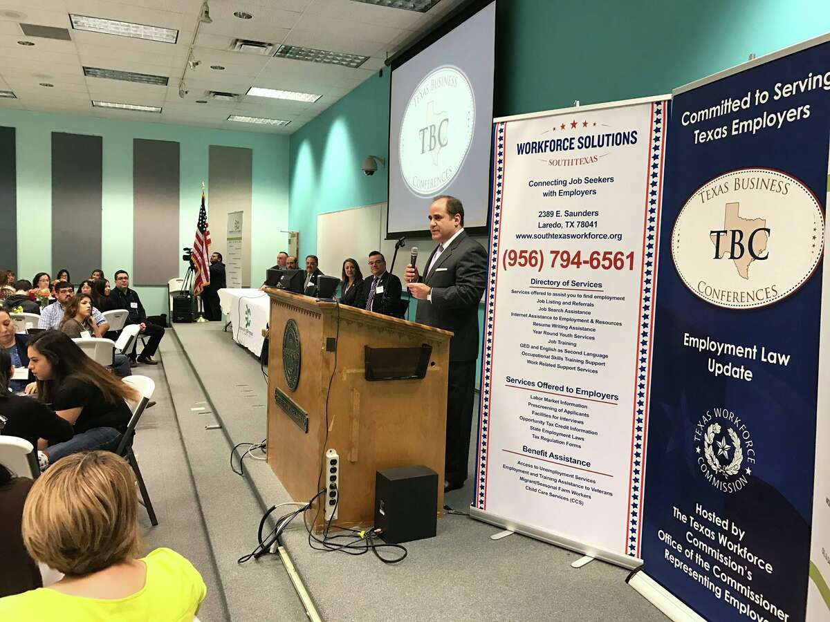 Laredo Community College President Dr. Ricardo J. Solis welcomes local business leaders, employers, and human resources professionals during the Texas Business Conference on the Employment Law Update, held on Friday, Feb. 17 at the Laredo Community College Fort McIntosh Campus.