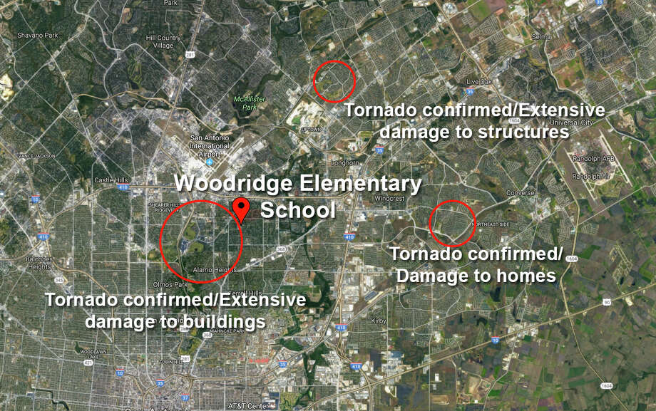 Classes at Woodridge Elementary School in the Alamo Heights Independent School District were cancelled after a CPS Energy crew was unable to restore power to the building following Sunday's tornado storm. Photo: Google