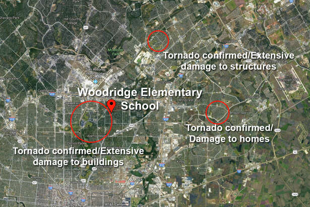 Classes at Woodridge Elementary School in the Alamo Heights Independent School District were cancelled after a CPS Energy crew was unable to restore power to the building following Sunday's tornado storm.