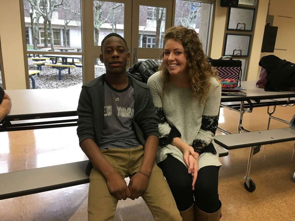 Sacred Heart University Erin Ritz stops to take a picture with her mentee during a recent mentoring session of the Stamford Public Education Foundation.