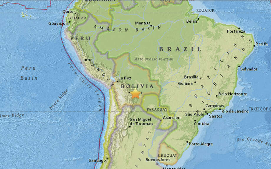 A magnitude 6.5 earthquake struck 88 miles east of Sucre, Bolivia at 10:09 am local time on Tuesday morning, February 21, 2017. Photo: USGS