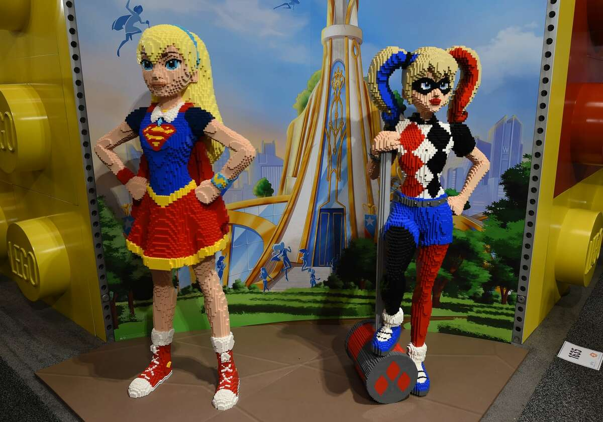 Lego SuperGirl and Harley Quinn on display February 19, 2017 during the American International Toy Fair in New York. The fair runs February 18-21.