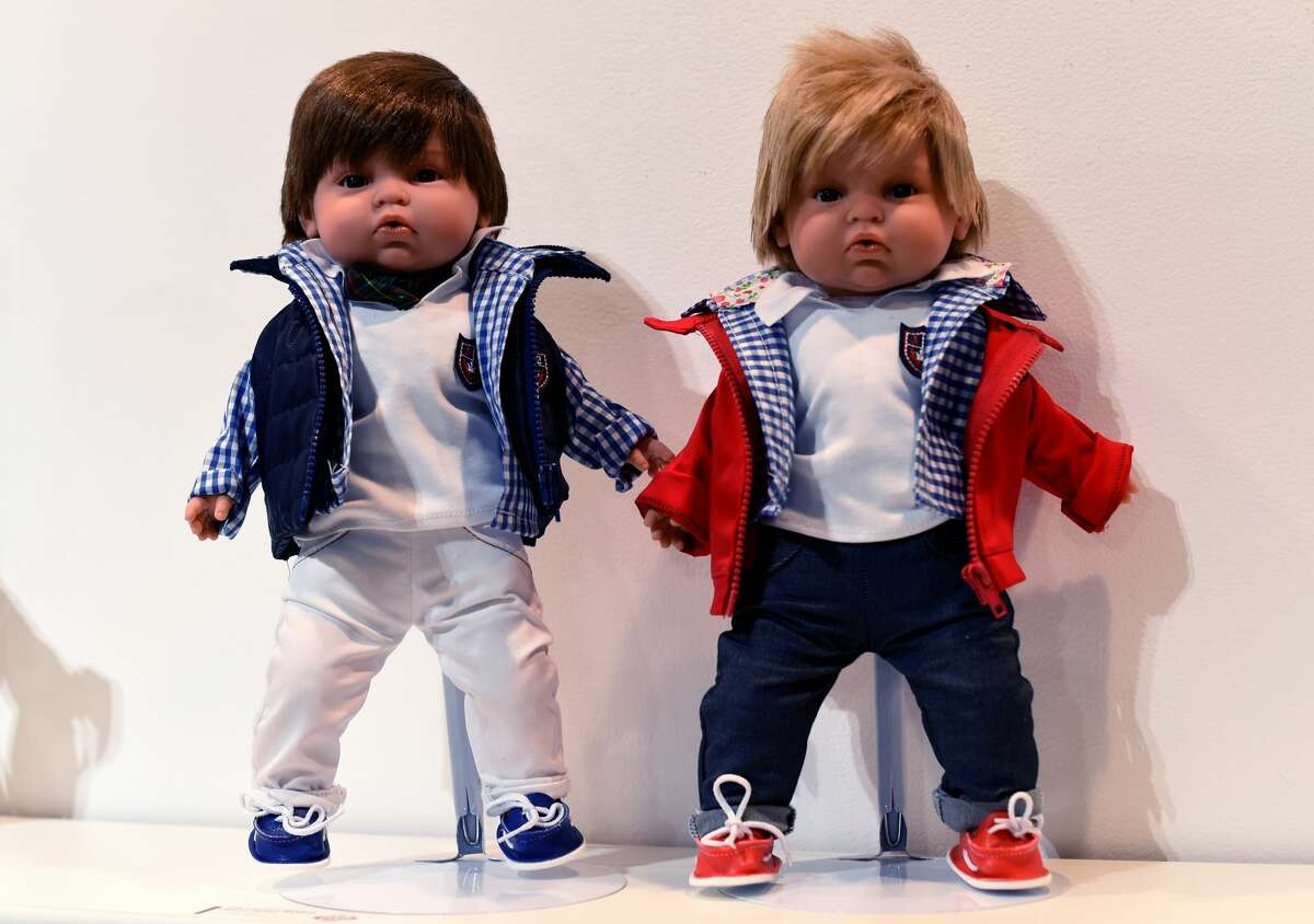 Lewis and Massimo Dolls from The Preppy World on display during the American International Toy Fair on February 19, 2017, in New York. The fair runs February 18-21.