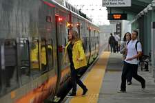 Commuters catch the train at the Fairfield Metro station in Fairfield.