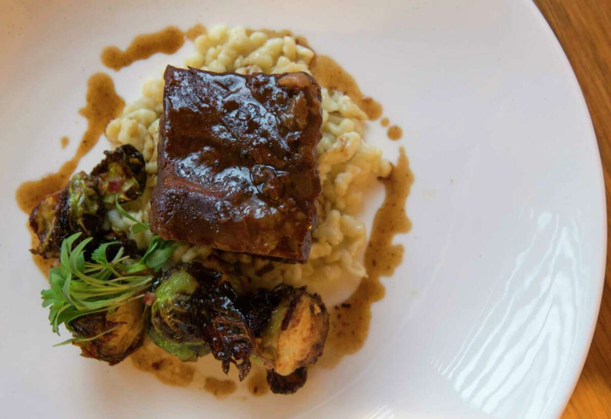 The short rib with Dr. Pepper, brussels sprouts and spaetzle at The Pearl Restaurant & Bar inside the Sam Houston Hotel.
