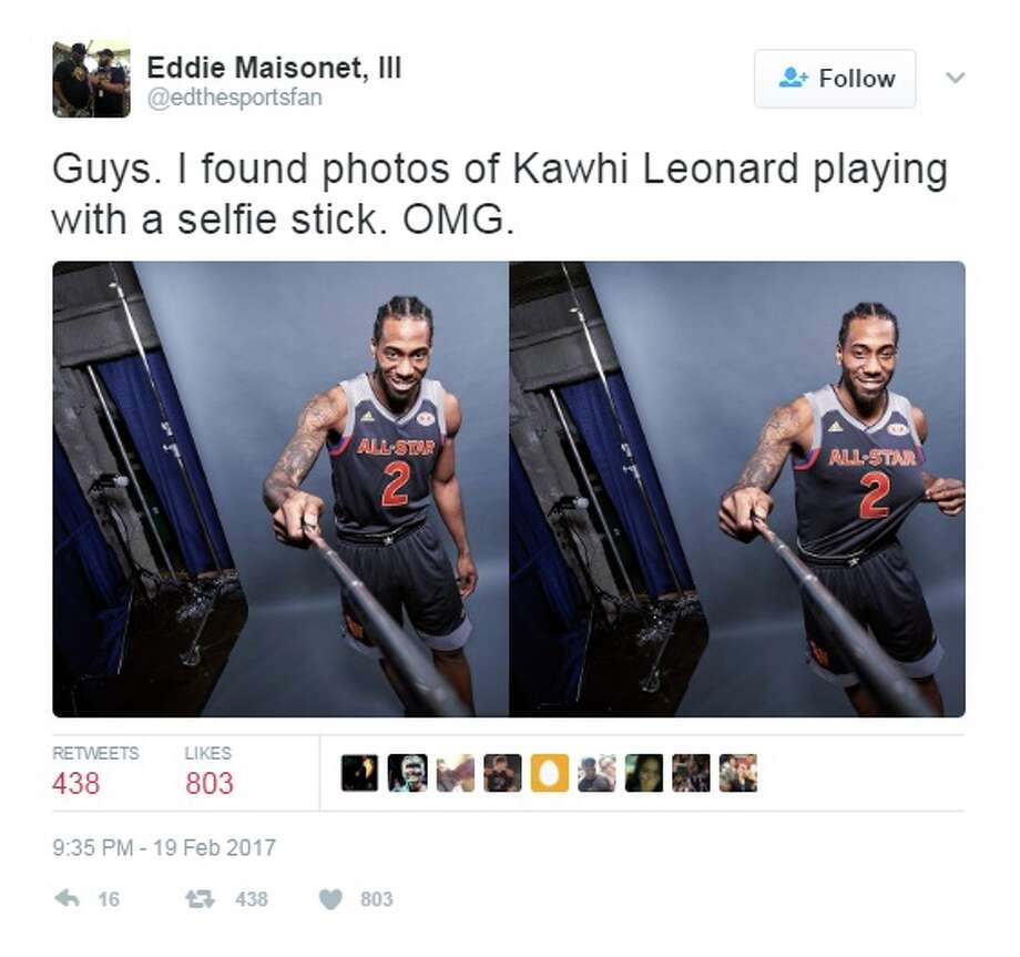 Kawhi Leonard may have glitched during his second consecutive All-Star Game appearance in New Orleans, because new photos show the stoic Spur carrying a geeky selfie stick and smile to match. See original tweet here.