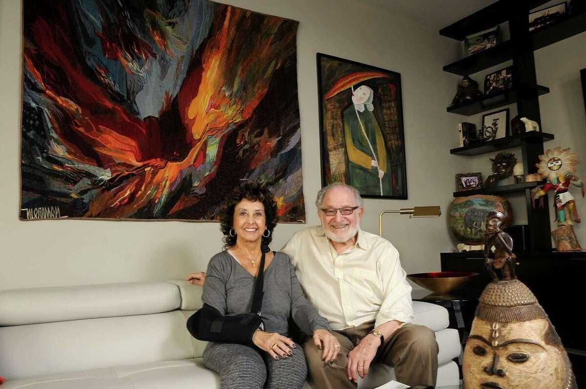 Harriet and Ed Reitman in their main floor TV room.