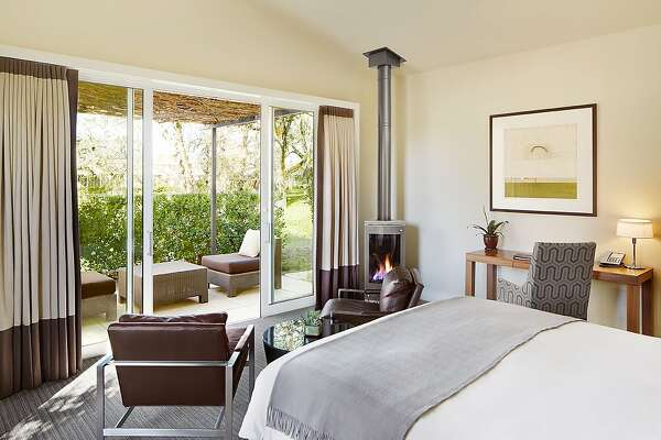 The 89 cottages at Solage in Calistoga come with roomy leather chairs and gas fireplaces, ideal for cocooning.