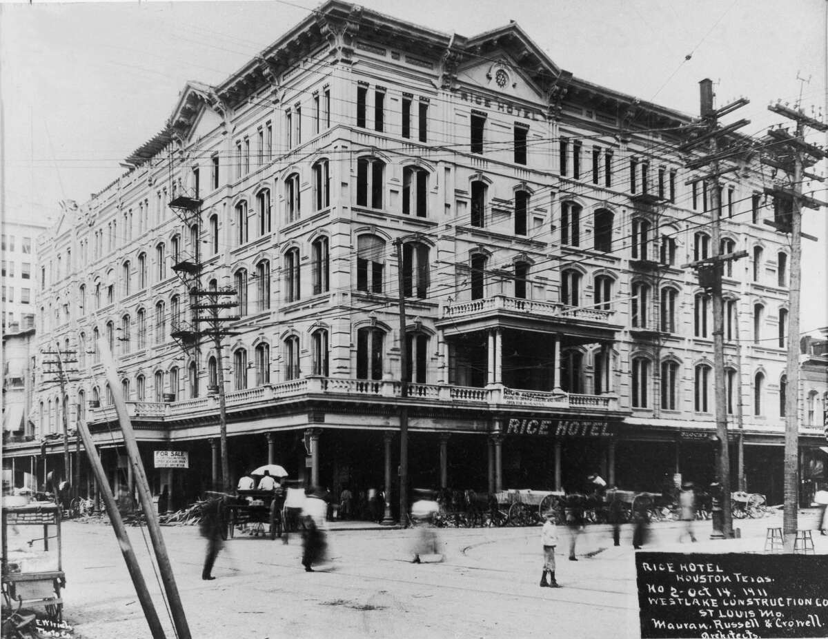 PHOTOS: A history of the Rice Hotel The Rice Hotel being constructed by the Westlake Construction Company on Oct. 14, 1911. This hotel was named after Rice University benefactor William Marsh Rice. Click through to see the property evolve over the years...
