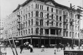 Rice Hotel, Westlake Construction Company photo Oct. 14, 1911.     HOUCHRON CAPTION (04/05/1998): This second hotel, photographed in 1911 on the Capitol site, was named after Rice University benefactor William Marsh Rice (NOT PICTURED).