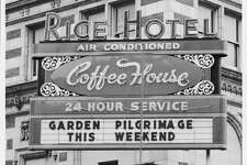 04/25/1962 -- The Rice Hotel sign marquee. RICE HOTEL. AIR CONDITIONED COFFEE HOUSE 24 HOUR SERVICE. GARDEN PILGRIMAGE THIS WEEKEND