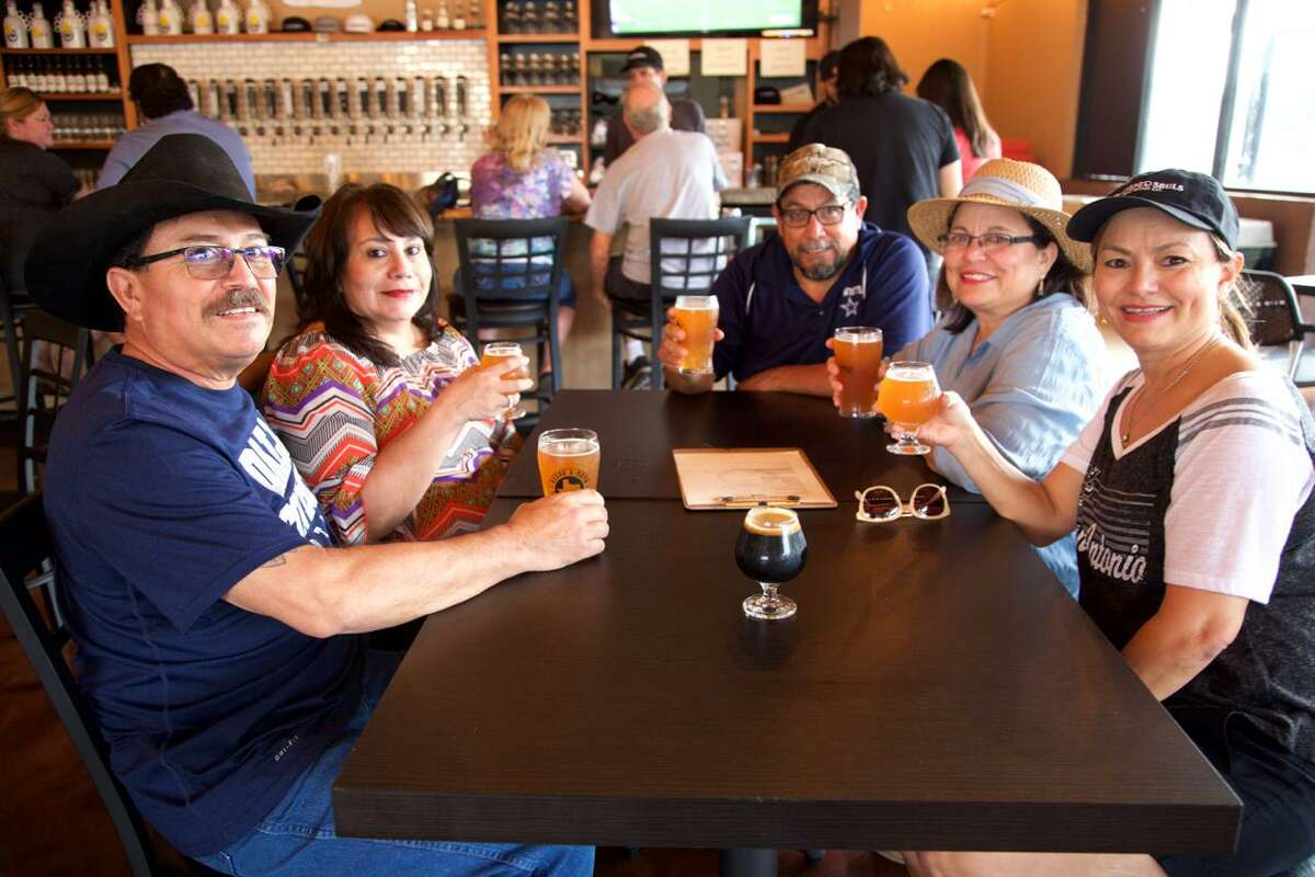 Adan Chavez, Letty Chavez, Ramiro Garcia, Olga Garcia and Norma Holt get together at Weathered Souls.