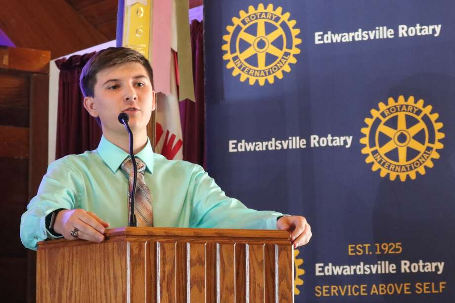 Chase Wernex speaks at a recent Rotary Club meeting.