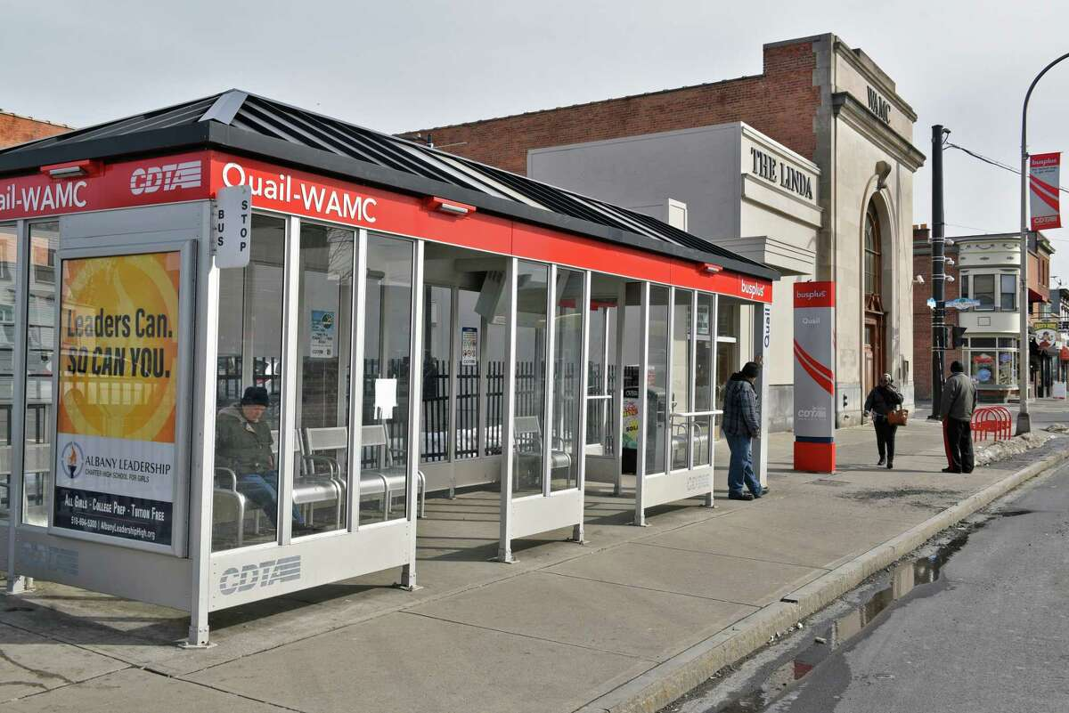 Bus stop at Central Ave. and Quail Street Tuesday Feb. 21, 2017 in Albany, NY. (John Carl D'Annibale / Times Union)