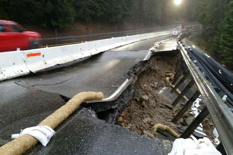 Part of Highway 50 in the Sierra was shut down Tuesday after part of the road buckled, causing the shoulder to collapse.