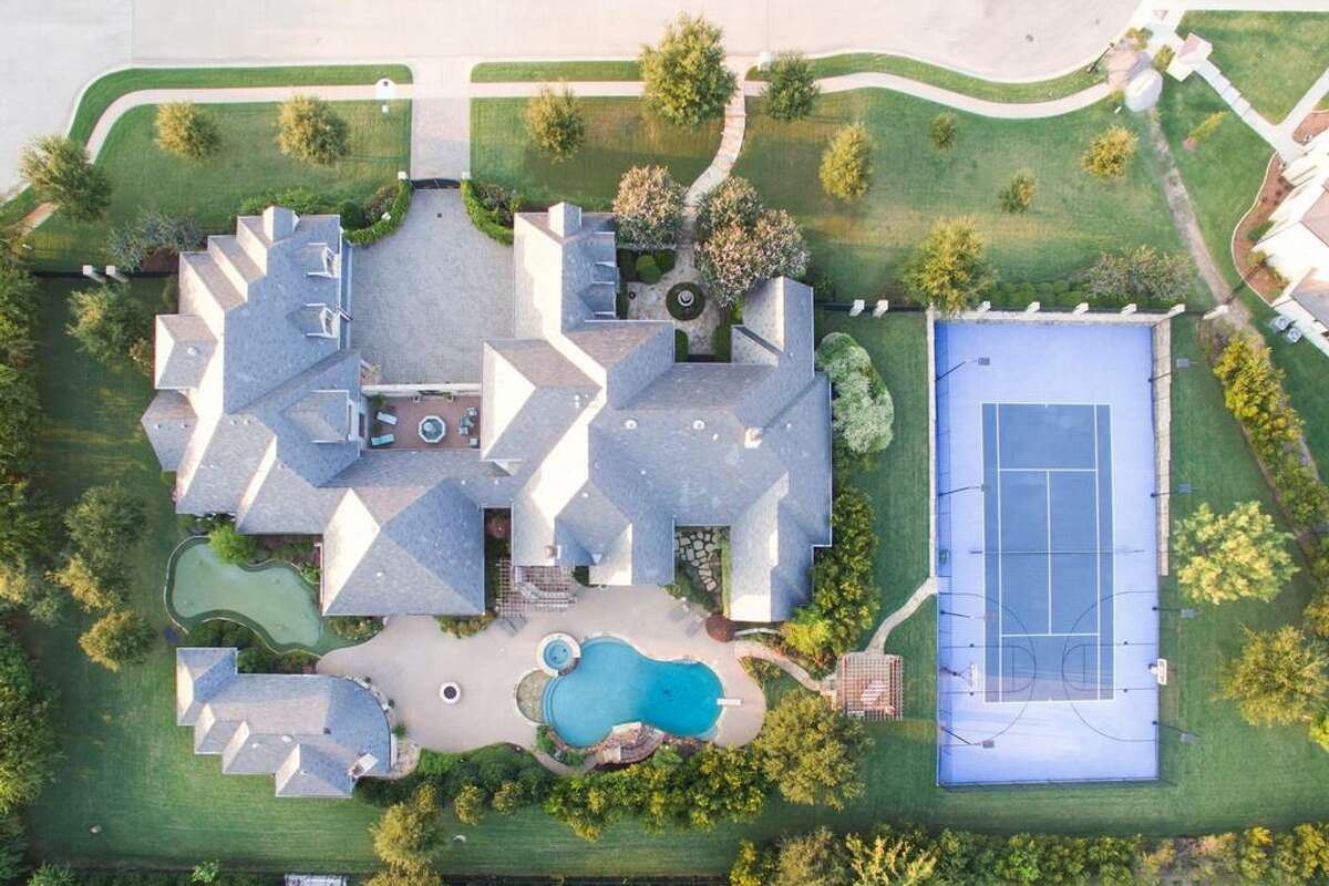 An aerial view of pop star Selena Gomez's Fort Worth mansion.