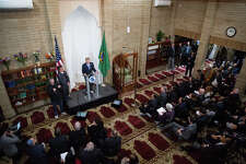 Mayor Ed Murray gives the State of the City address at Idris Mosque on Tuesday, Feb. 21, 2017.