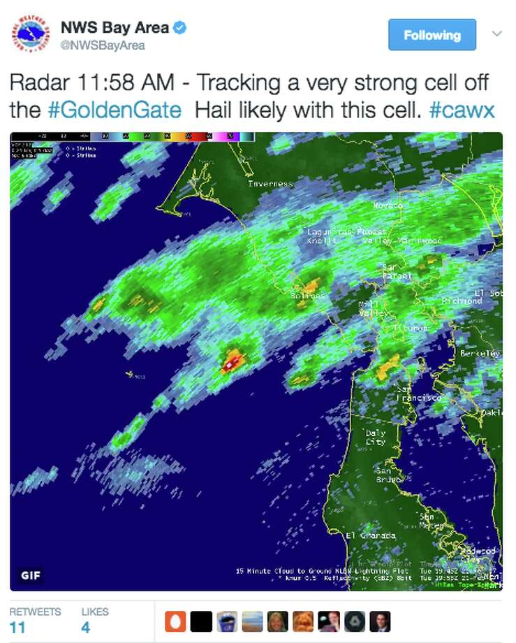A powerful weather cell off the Golden Gate will move into Marin County Tuesday afternoon, likely dropping hail, according to the National Weather Service. Photo: National Weather Service
