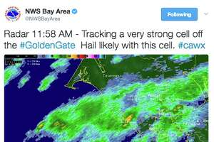 A powerful weather cell off the Golden Gate will move into Marin County Tuesday afternoon, likely dropping hail, according to the National Weather Service.