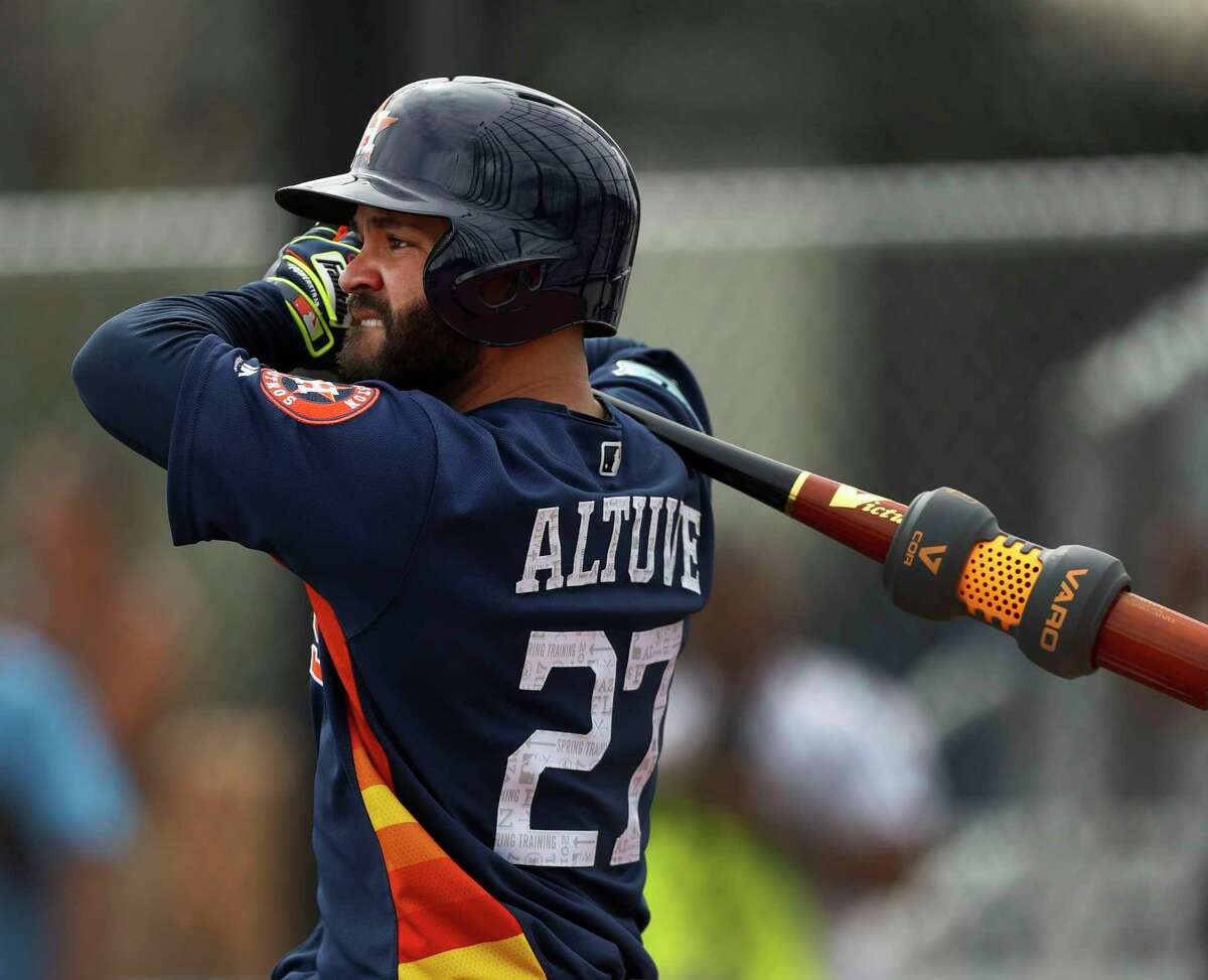 Houston Astros second baseman Jose Altuve (27) stretches during live batting practice during spring training at The Ballpark of the Palm Beaches, in West Palm Beach, Florida, Tuesday, February 21, 2017.