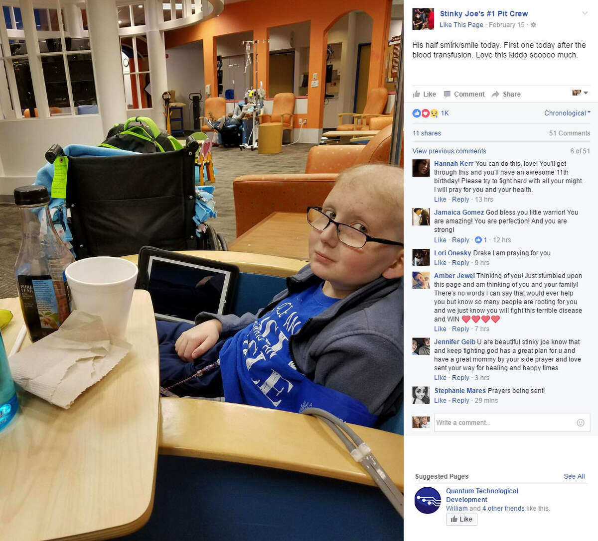 Tomball mother Jessica Medinger shared a heart-rending photograph of her 10-year-old son's battle with leukemia in an effort to show the struggles both of them face every day and it has since gone viral. Source: Facebook