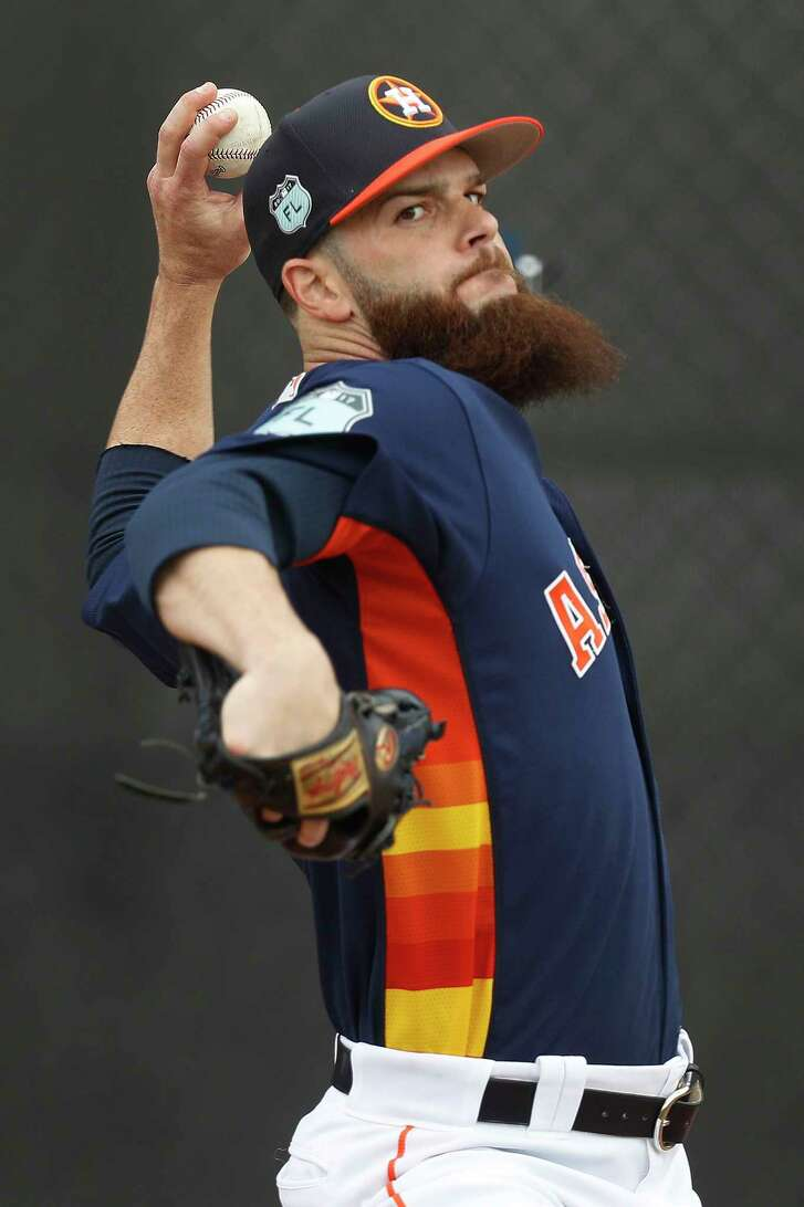Houston Astros starting pitcher Dallas Keuchel (60) pitches in the pen during spring training at The Ballpark of the Palm Beaches, in West Palm Beach, Florida, Tuesday, February 21, 2017.