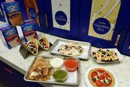 IMAGE DISTRIBUTED FOR POP-TARTS - Menu items at Pop-Tarts Caf� are displayed, Tuesday, Feb. 21, 2017, in New York�s Times Square.  The menu features indulgent, toaster pastry twists on classic New York favorites  � including pizza with a Pop-Tarts crust, nachos with Pop-Tarts �chips� and tacos with Pop-Tarts filling and sweet toppings. (Diane Bondareff/AP Images for Pop-Tarts)