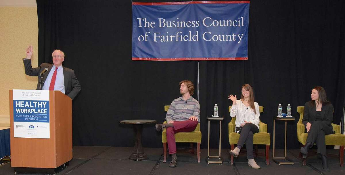 Chris Bruhl of the Business Council of Fairfield County leads a panel discussion on Innovation and the Journey to Wellness with panelists Maxon Keating of Charter Oak Communities, Cora Ragaini of Grade A ShopRite, and Lisa Kimmel of Yale University during the Healthy Workplace Employer Recognition program held Tuesday, Feb. 14, 2017, in Stamford, Conn.