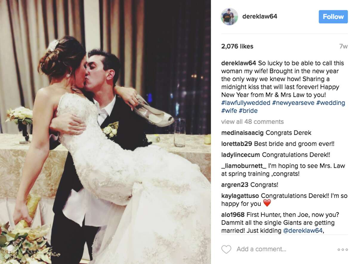 But Panik is hardly the only Giant who heard wedding bells. Derek Law married longtime girlfriend Chelsea on New Year's Eve in Pittsburgh. The two met in high school and even attended prom together.
