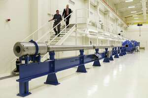 The institute does research and development work for both the government and commercial interests. This two stage light gas gun is part of the institute's high velocity projectile testing capabilities.