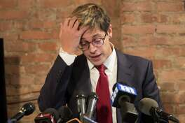 Milo Yiannopoulos speaks during a news conference, Tuesday, Feb. 21, 2017, in New York. The right-wing provocateur is holding the news conference amid heavy criticism over his comments about relationships between boys and older men. The Breitbart editor has been disinvited to a conservative conference and his publisher has canceled the planned release of his upcoming book in June. (AP Photo/Mary Altaffer)