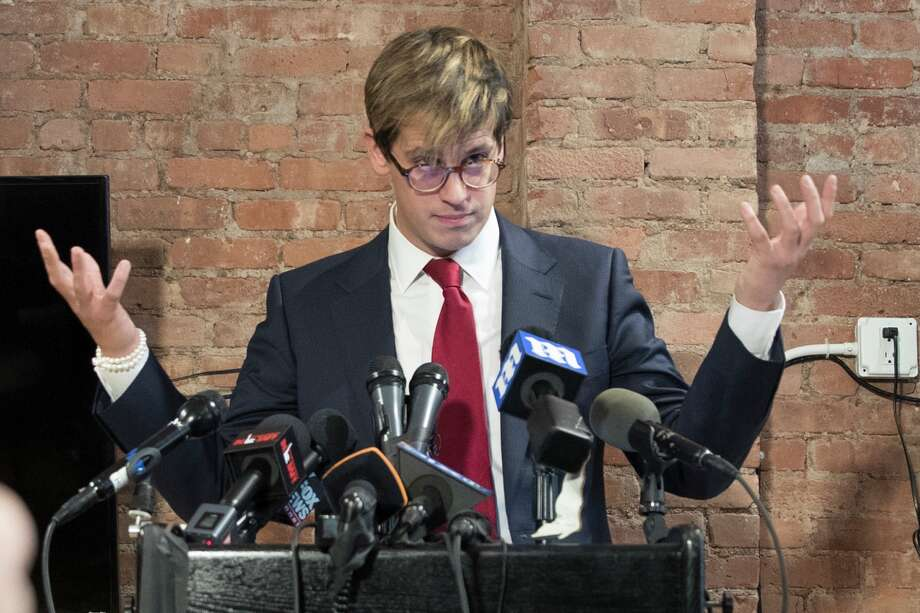 Milo Yiannopoulos speaks during a news conference, Tuesday, Feb. 21, 2017, in New York. The right-wing provocateur says he will return to UC Berkeley, just months after his talk sparked riots at the college campus, forcing the event to be cancelled. Photo: Mary Altaffer/AP