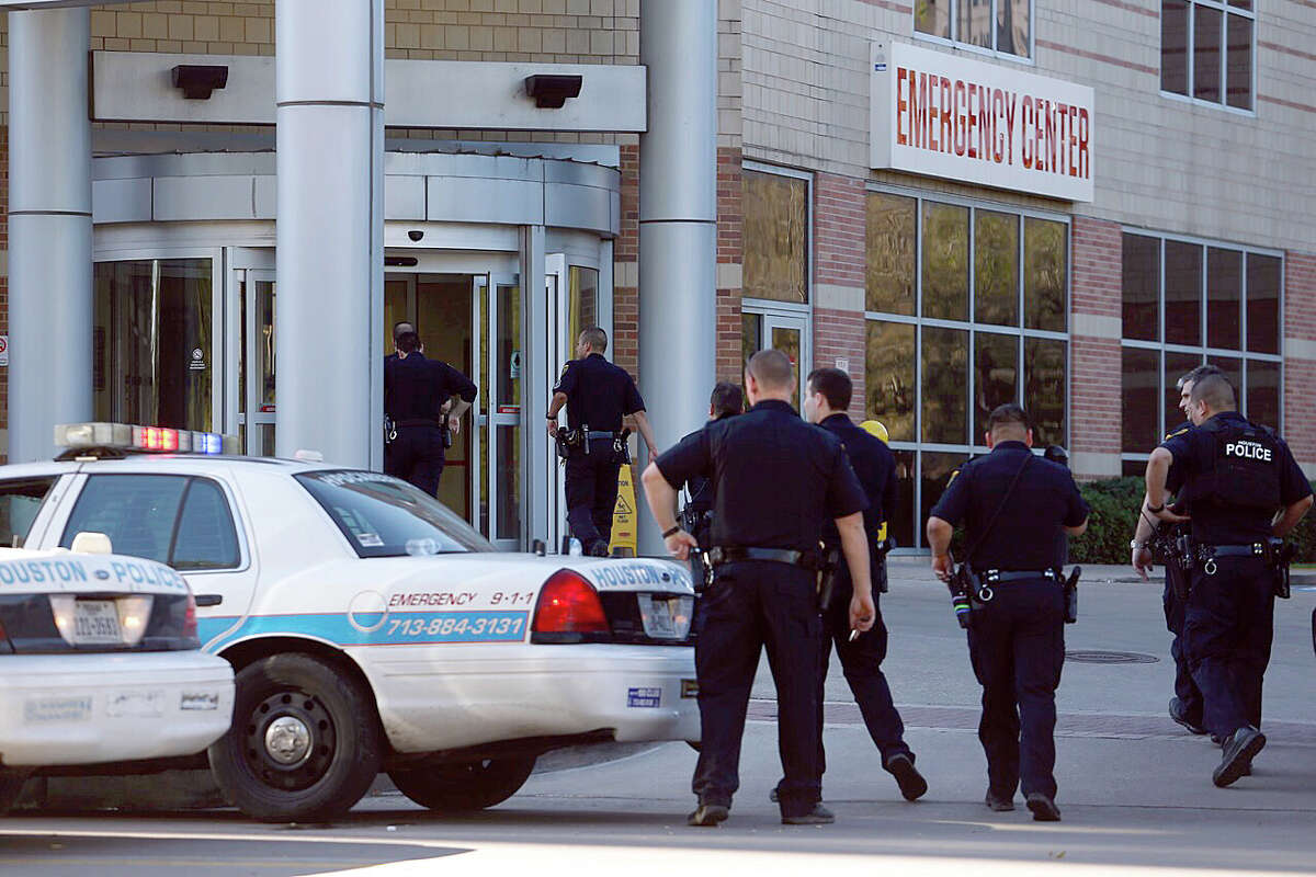 Houston police officers responded to reports of shots fired at Ben Taub Hospital in Houston, Tuesday, Feb. 21, 2017.