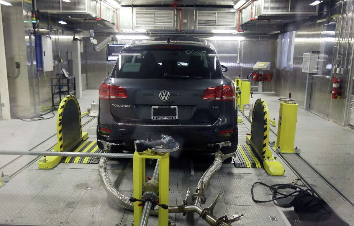 A Volkswagen Touareg diesel is tested by the EPA in Ann Arbor, Mich., in 2015.