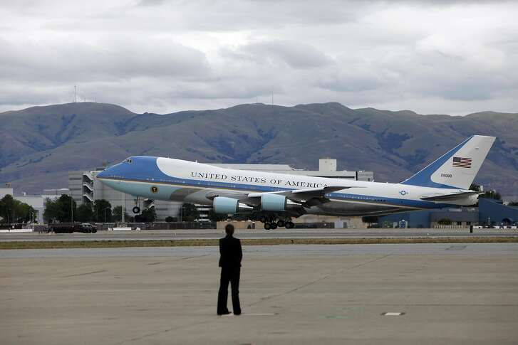 Air Force One lands with President Obama at 4:11 at  Moffett Field, Thursday May 8, 2014 in Mountain View, Calif.