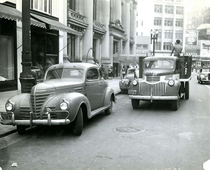 Grant Avenue between O'Farrell and Geary Streets, in San Francisco. February 19, 1948.