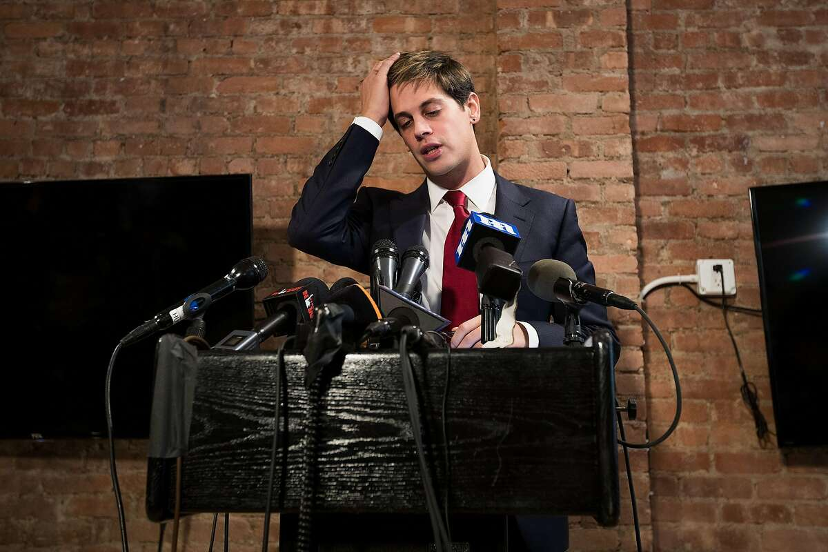 Milo Yiannopoulos announces his resignation from Brietbart News during a press conference, February 21, 2017 in New York City.