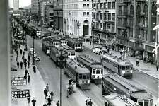 Market Street, looking toward the Ferry Building in San Francisco, ca. 1930's.