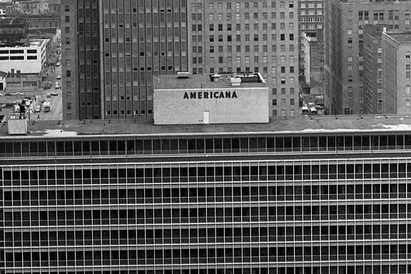 03/1963 - View of downtown Houston from the Humble Building, 800 Bell. Esperson Building, Americana building