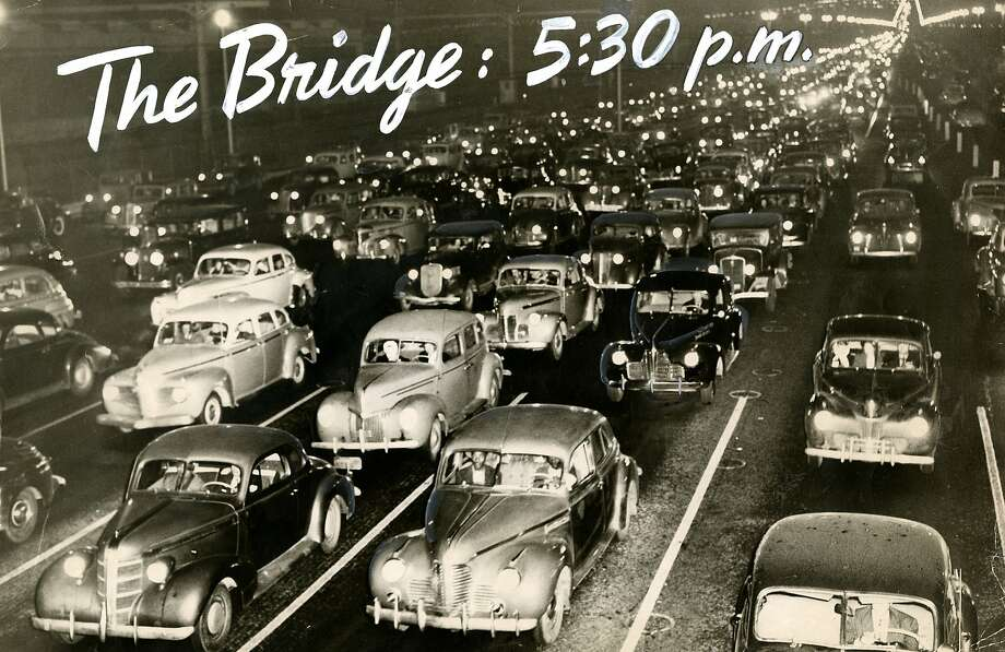 Massive traffic delays on the Bay Bridge approaches are not a modern phenomenon. This photo was taken on the San Francisco side of the bridge (facing west) on. Dec. 3, 1946. Photo: Duke Downey, San Francisco Chronicle