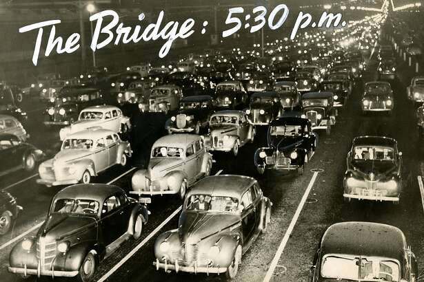 The [Bay] Bridge at 5:30 p.m. in San Francisco. Ten lanes of traffic looking west. December 3, 1946.