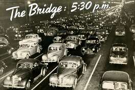 The [Bay] Bridge at 5:30 p.m. in San Francisco. Ten lanes of traffic looking west. December 3, 1946.