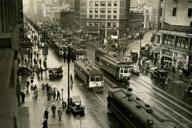 Traffic scene on Market Street in San Francisco ca. 1940's.