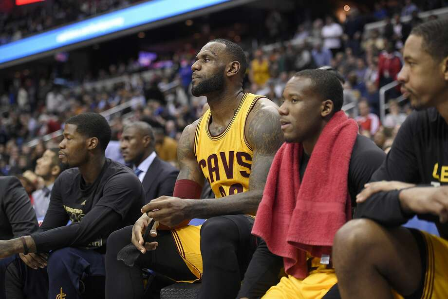 Cleveland Cavaliers forward LeBron James, center, sits on the bench after he fouled out during the overtime of an NBA basketball game against the Washington Wizards, Monday, Feb. 6, 2017, in Washington. The Cavaliers won 140-135 in overtime. (AP Photo/Nick Wass) Photo: Nick Wass, Associated Press