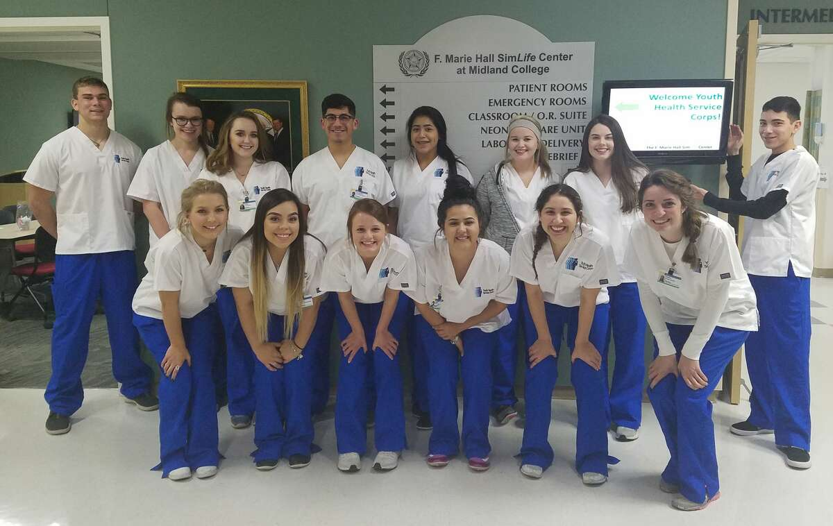 Students who are involved in Youth Health Service Corps include David Threadgill, from left in back row, Faith Bippert, Chloe Berry, Leonardo Franco, Jasmin Corralejo, Brooke Rayburn, Kenzie Pulley and Jonathan Mata; and Alicia Soule, from left in front row, Yatziri Armendariz, Reagan Fincher, Alina Urias, Megan Martinez and Haley Mourik.
