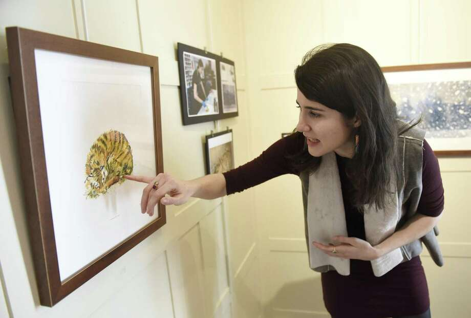Sacred Heart alumna Genevieve Irwin shows her monotype painting of a Siberian tiger cub at the exhibition of her work displayed at Sacred Heart Greenwich in Greenwich, Conn. Tuesday, Feb. 21, 2017. Irwin is working on a collection of monotype paintings for a children's book about Siberian tigers while completing her MFA in Illustration at the School of Visual Arts in New York. Photo: Tyler Sizemore / Hearst Connecticut Media / Greenwich Time