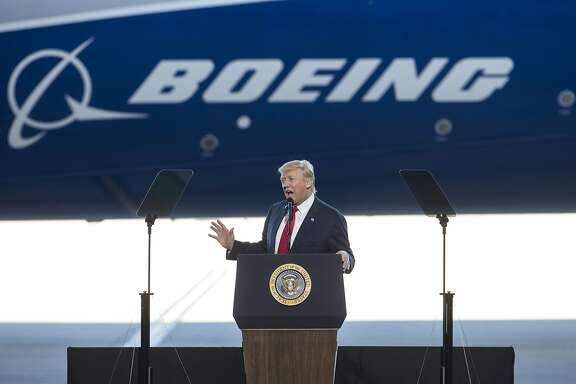 President Donald Trump speaks at the unveiling of Boeing�s new 787-10 Dreamliner, at Boeing�s facility in North Charleston, S.C., Feb. 17, 2017. �We�re going to fight for every last American job,� Trump said in a return to the simple economic message that got him elected, adding that his �focus� was on jobs. (Al Drago/The New York Times)