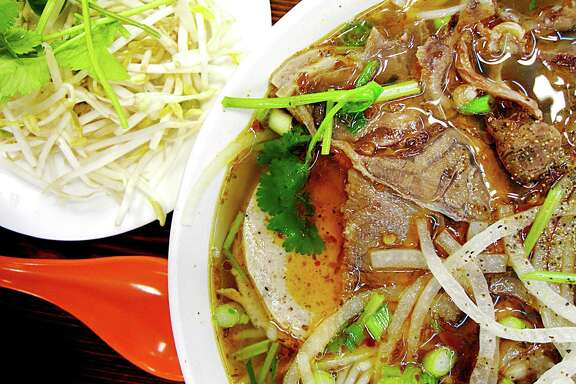The spicy beef and pork noodle soup called bun bo Hue from Berni Vietnamese Restaurant.